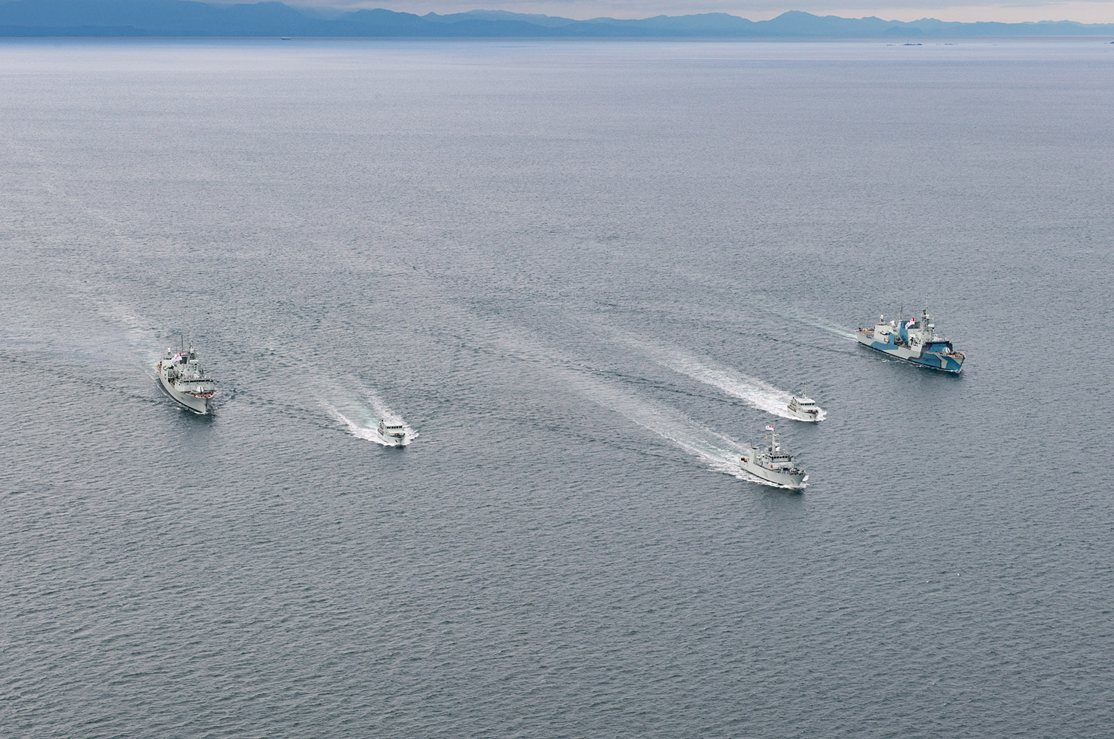 Ships participating in High Readiness work ups on the west coast are in formation posing for their photo exercise earlier this week.