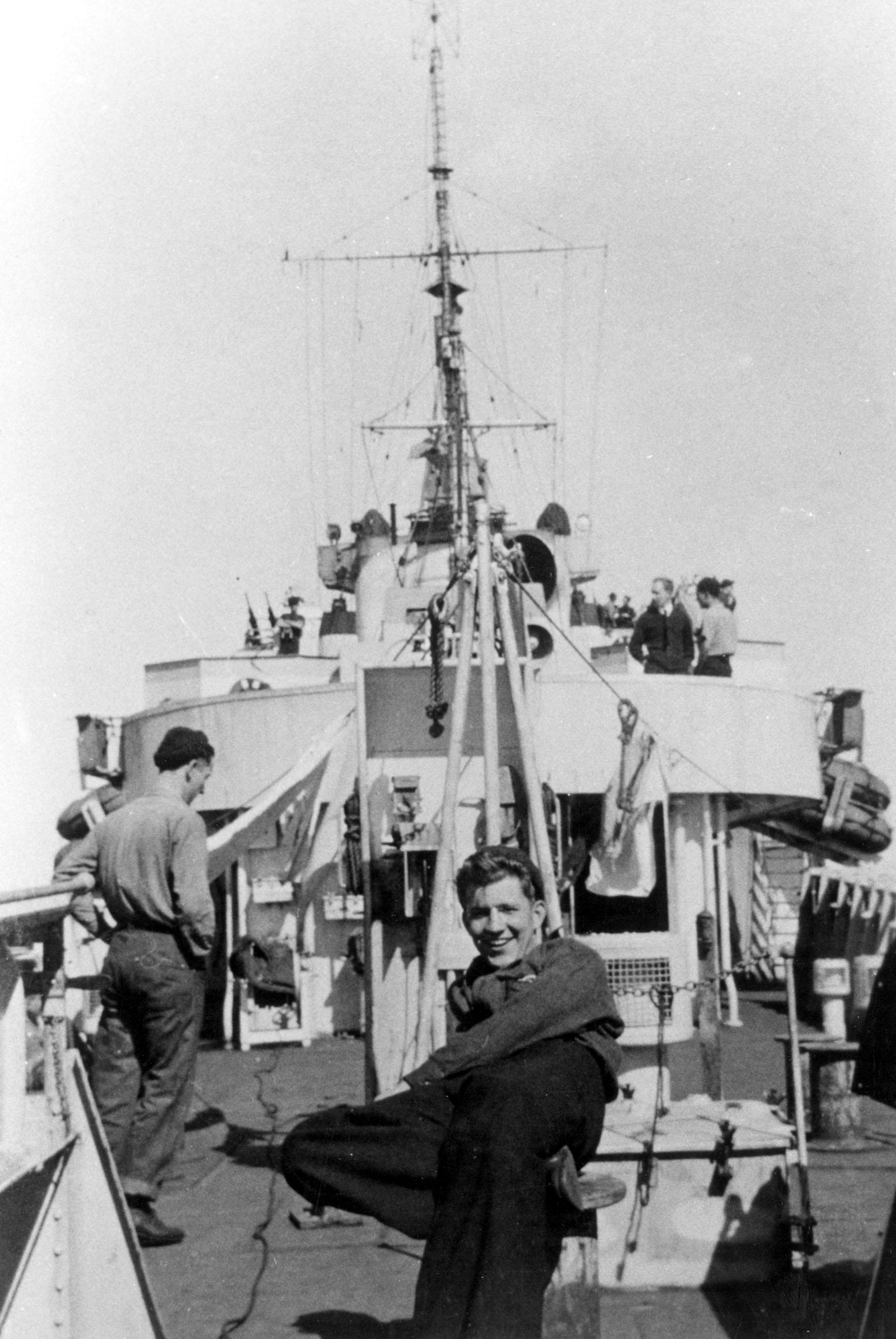 Sailors on HMCS Longueuil. Longueuil was commissioned on 18 May 1944. She spent her entire wartime career on convoy duty and for varying periods was Senior Officer's ship of her group.