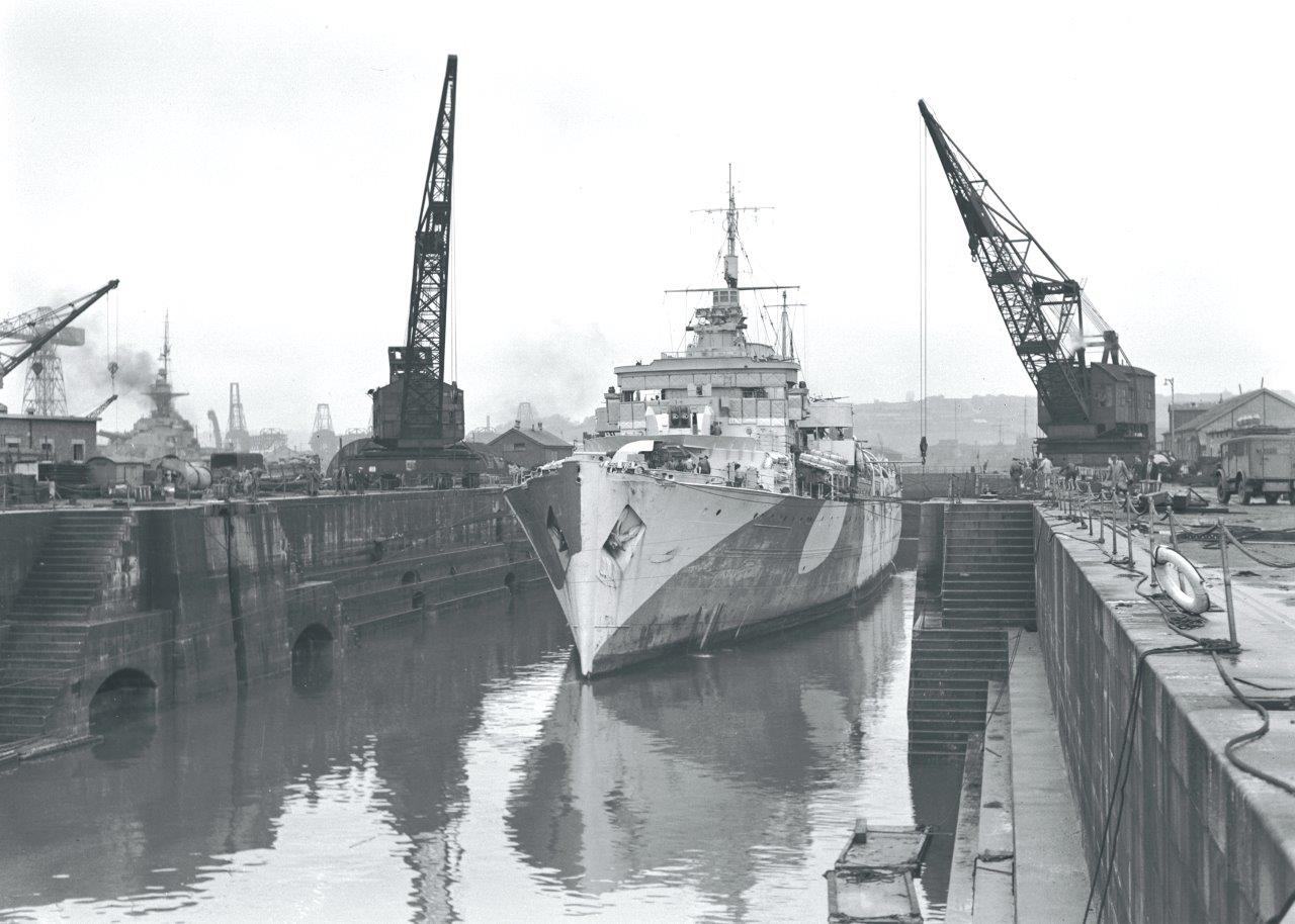 HMCS Prince Robert emerges out of drydock.