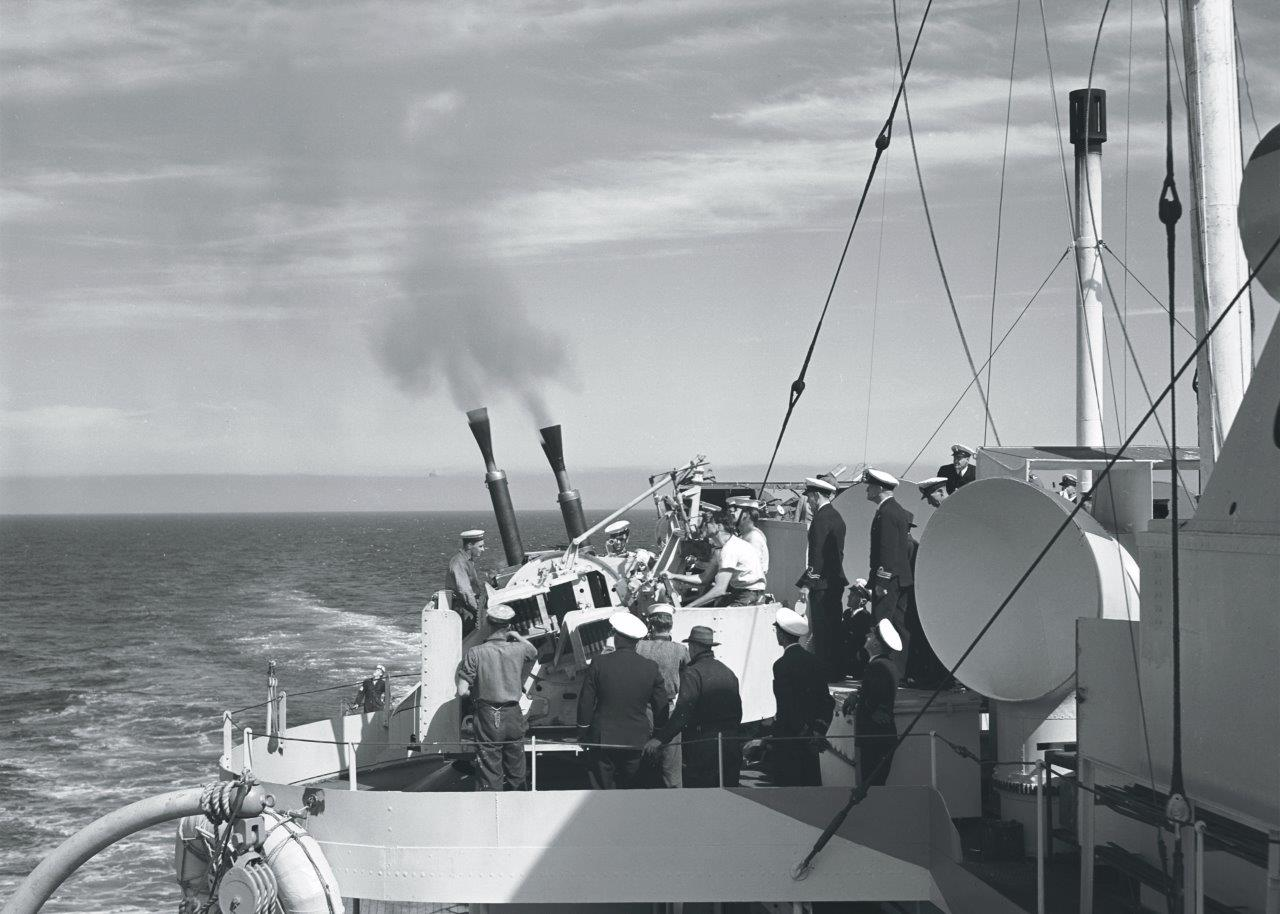 Live firing of HMCS Prince Robert's anti-aircraft guns.