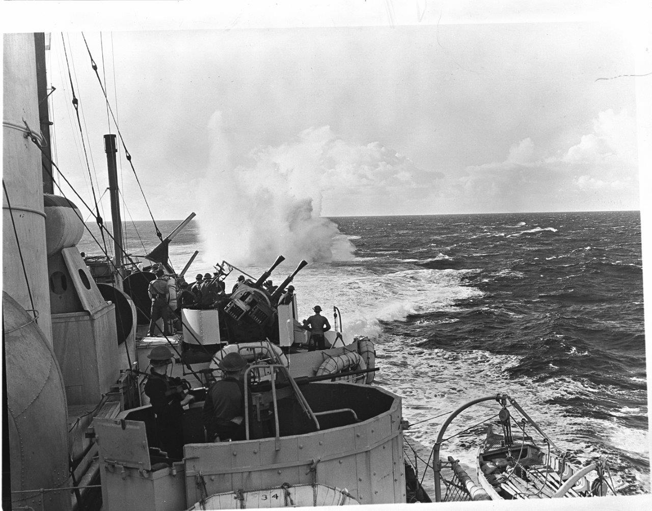 A depth charge dropped from HMCS Prince Robert explodes astern of the ship while on patrol in the Mediterranean on October 2, 1943.