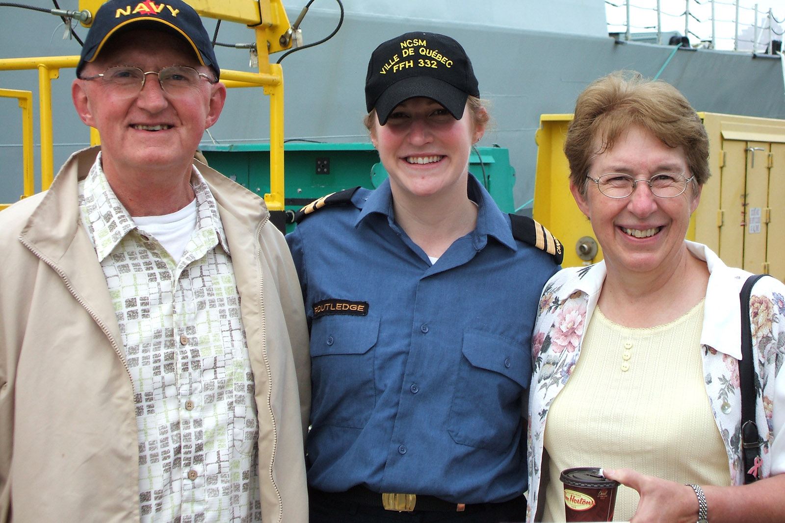 Capt(N) Seana Routledge with her parents in 2008 at her deployment departure.