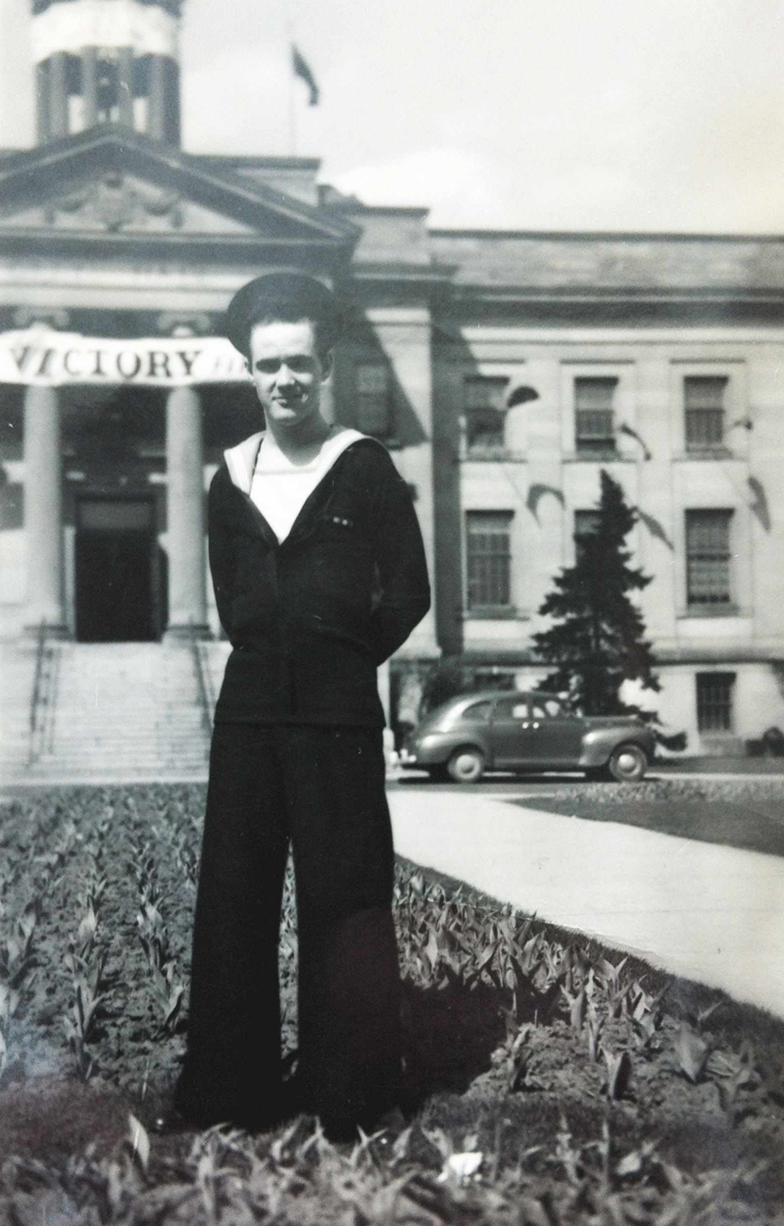 AB Harrison F. Stumpf in front of the Kitchener City Hall after the war.