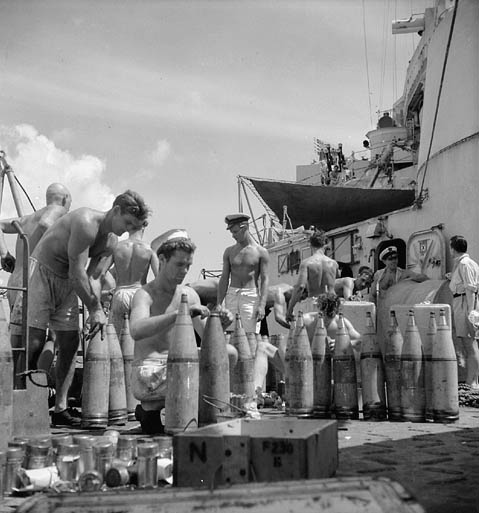 Sailors on HMCS Uganda. In April, Uganda joined Task Force 57 in the Okinawa area, and was thereafter principally employed in screening the fleet's aircraft carriers operating against Japanese airfields in the Ryukyu Islands, Japan. On 14 June, Uganda participated in the bombardment of Truk, and in July supported carriers operating against Tokyo.