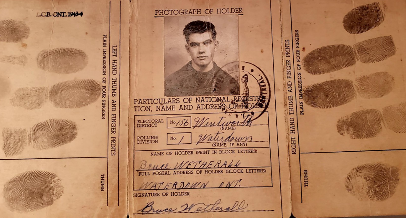 Officer Cadet Wetherall's war-era identification card