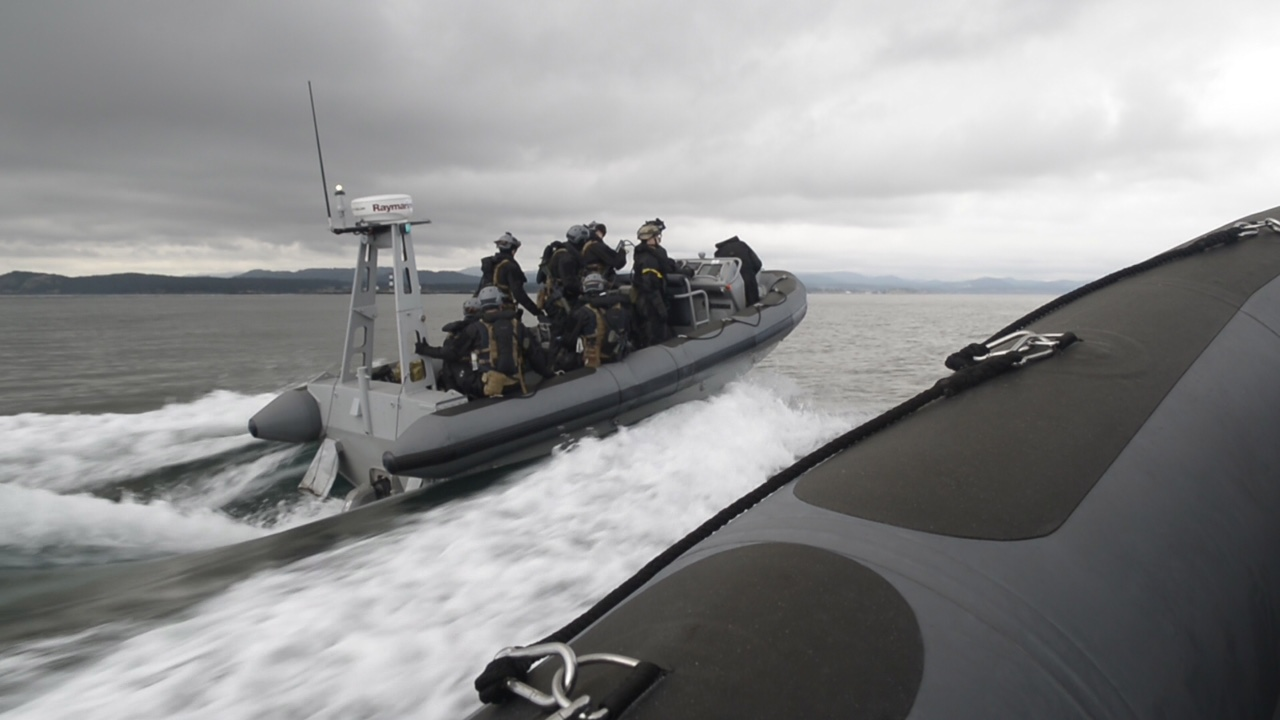 Members of the Maritime Tactical Operator Course in a RHIB.