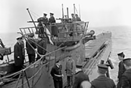 German Navy Submarine, U-889,  surrenders to Royal Canadian Navy sailors off the coast of Shelburne, Nova Scotia on 13 May 1945. It was almost immediately commissioned into the Royal Canadian Navy as His Majesty's Canadian Submarine U-889 for testing and evaluations.