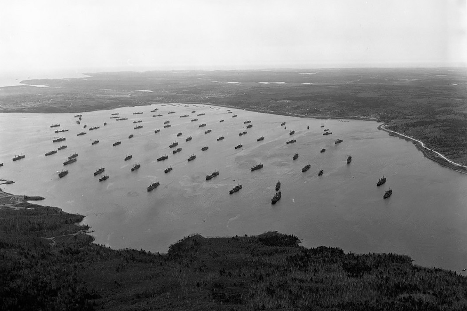 Slide - Merchant ships gathering in Bedford Basin