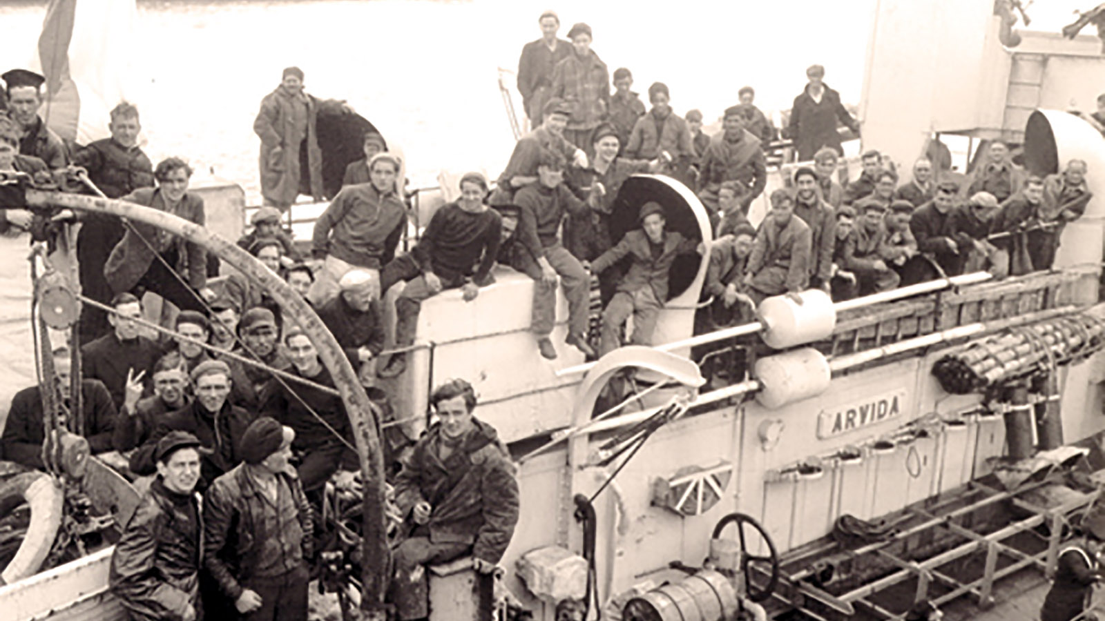 Survivors of a torpedoed merchant ship