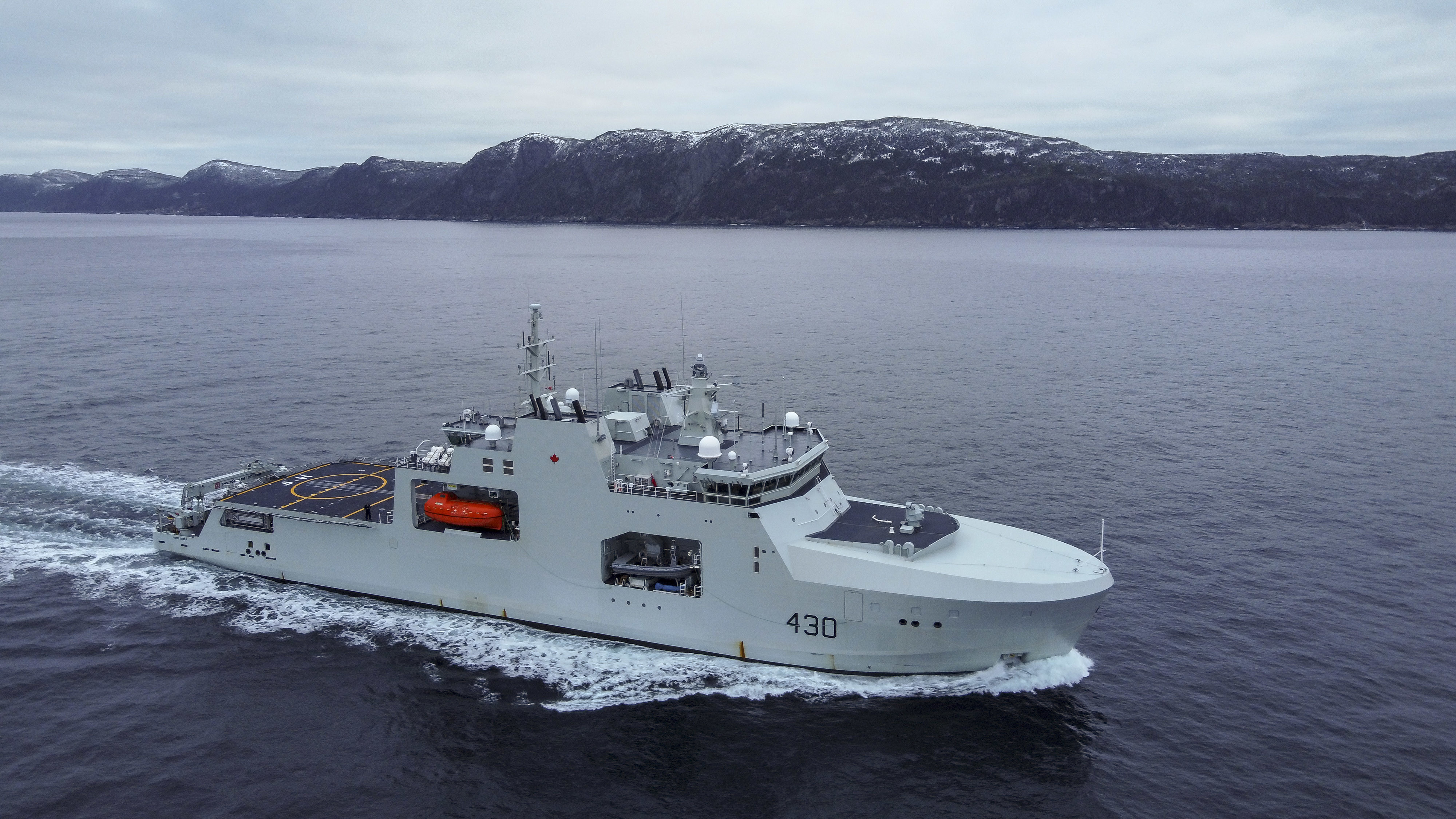 HMCS Harry DeWolf sails in Conception Bay, N.L.