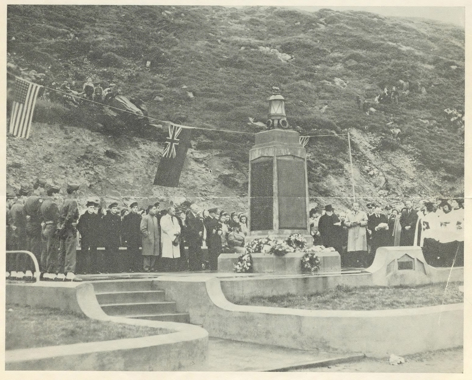 People gather on October 14 of every year to commemorate those lost at the SS Caribou Memorial in Port aux Basques.