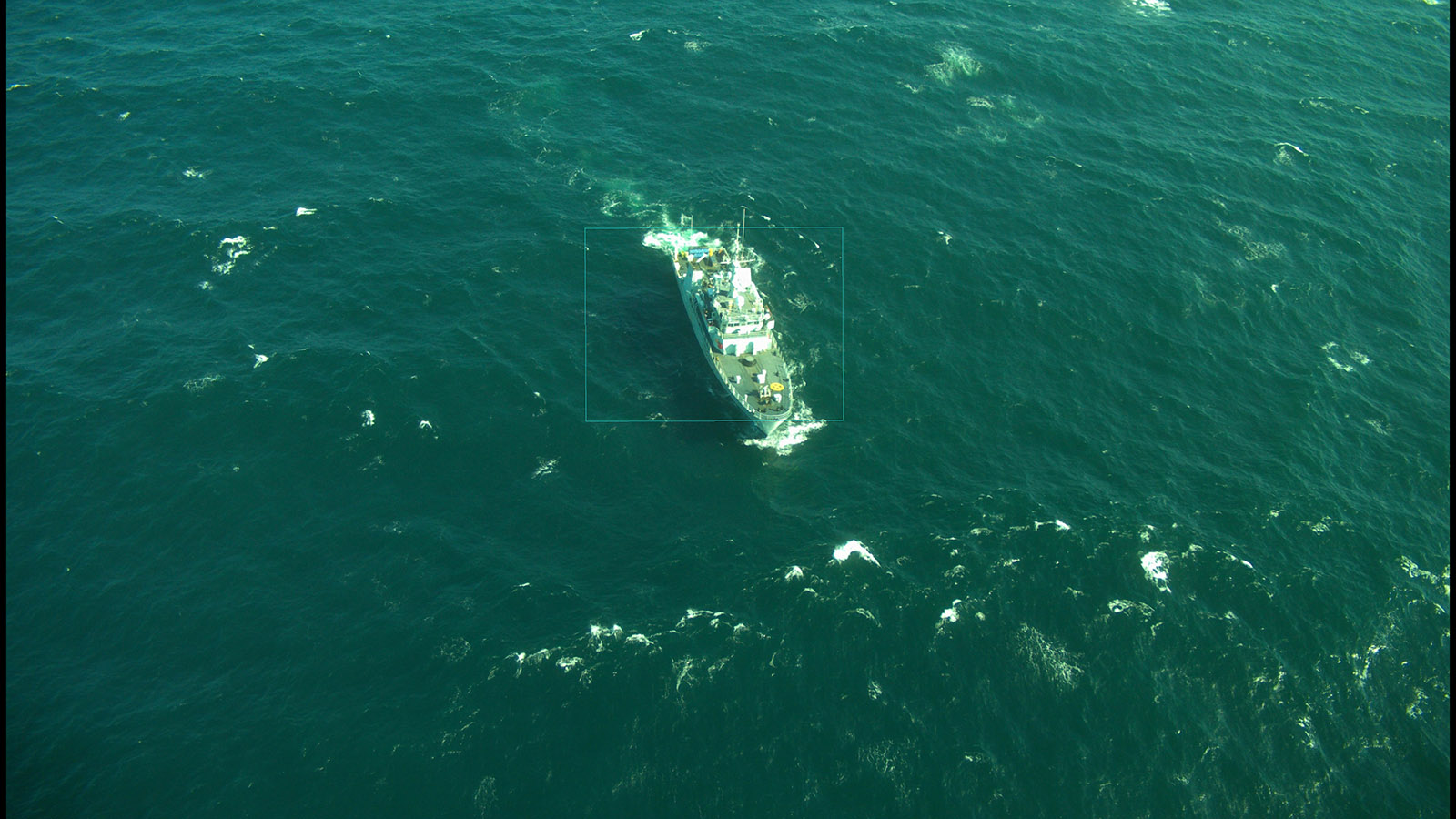 Aerial image of HMCS Edmonton taken by the PUMA during Sea Acceptance trials August 2018.